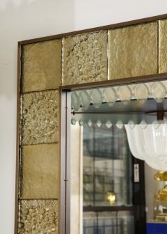 Gold Sculptural Murano Glass and Brass Rectangular Mirror Pair Available Italy - 1998520