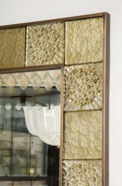 Gold Sculptural Murano Glass and Brass Rectangular Mirror Pair Available Italy - 1998522