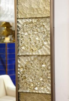 Gold Sculptural Murano Glass and Brass Rectangular Mirror Pair Available Italy - 1998523