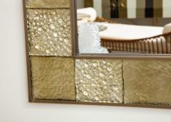 Gold Sculptural Murano Glass and Brass Rectangular Mirror Pair Available Italy - 1998525