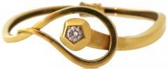 Gold and Diamond Nail Head Bracelet Circa 1970 - 320656