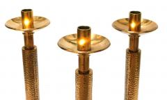 Good Quality Set of 3 of English Arts and Crafts Style Gilt bronze Candlesticks - 1894356