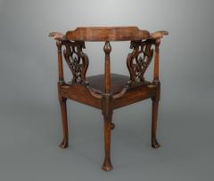 Good and Rare George III Carved Walnut Corner Armchair - 1233776