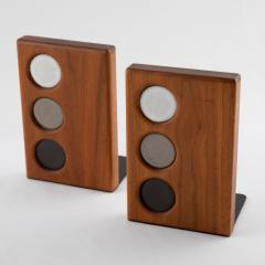 Gordon Jane Martz 1960s ceramic and walnut bookends by Gordon and Jane Martz for Marshall Studios - 1075566