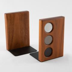 Gordon Jane Martz 1960s ceramic and walnut bookends by Gordon and Jane Martz for Marshall Studios - 1075578