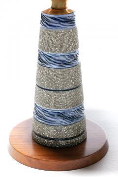 Gordon Jane Martz Gordon Jane Martz Blue Glazed Ceramic Walnut Floor Lamp circa 1955 - 2134763