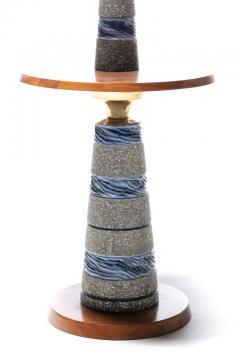 Gordon Jane Martz Gordon Jane Martz Blue Glazed Ceramic Walnut Floor Lamp circa 1955 - 2134774