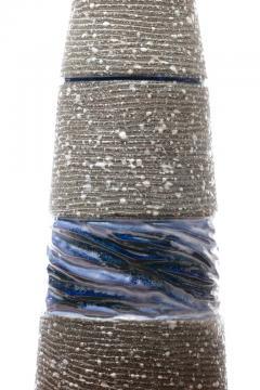 Gordon Jane Martz Gordon Jane Martz Blue Glazed Ceramic Walnut Floor Lamp circa 1955 - 2134778