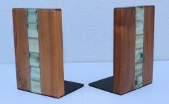 Gordon Jane Martz Gordon Jane Martz Walnut And Tile Bookends - 1903232