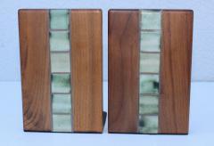 Gordon Jane Martz Gordon Jane Martz Walnut And Tile Bookends - 1903238