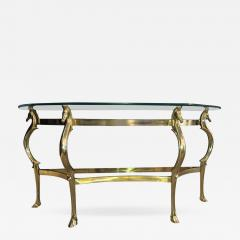 Gorgeous Italian Brass Seahorse Console Table   536195