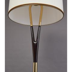 Graceful Floor Lamp in Polished Wood with Brass Mounts Italy 1950s - 1960188