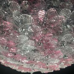 Graceful Pink and Ice Midcentury Flowers Basket Murano Glass Ceiling Light - 1679317