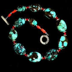Graduated Hubei Turquoise Nugget Necklace with orange and silver accents - 2006685