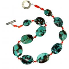 Graduated Hubei Turquoise Nugget Necklace with orange and silver accents - 2006686