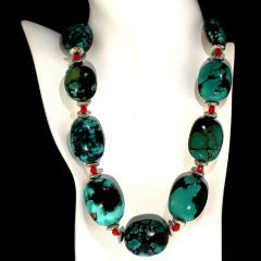 Graduated Hubei Turquoise Nugget Necklace with orange and silver accents - 2006687