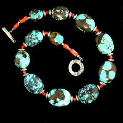 Graduated Hubei Turquoise Nugget Necklace with orange and silver accents - 2006689