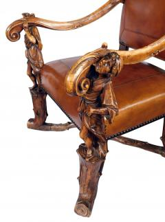 Grand Pair of Venetian Baroque Style Arm Chairs Manner of Andrea Brustonloni - 1929841