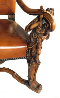 Grand Pair of Venetian Baroque Style Arm Chairs Manner of Andrea Brustonloni - 1929846
