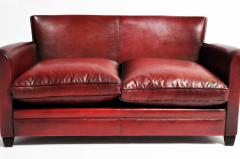 Grand Parisian Style Red Leather Sofa - 903841