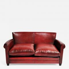 Grand Parisian Style Red Leather Sofa - 905297