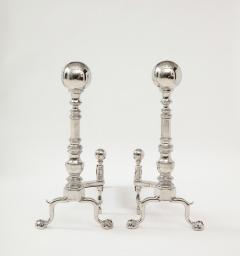Grand Scale Hollywood Regency Nickel Andirons - 1860385