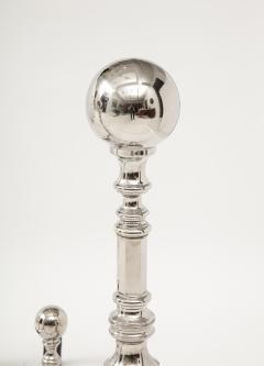 Grand Scale Hollywood Regency Nickel Andirons - 1860390