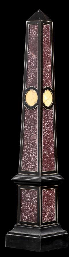 Grand Tour Porphyry on Ebony Wood Pair of Obelisks Italian - 1984518