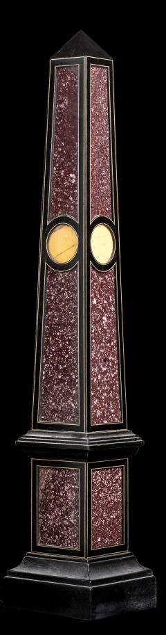 Grand Tour Porphyry on Ebony Wood Pair of Obelisks Italian - 1984519