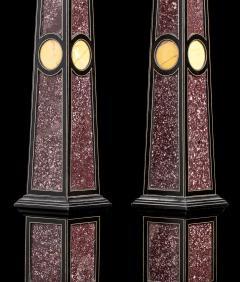 Grand Tour Porphyry on Ebony Wood Pair of Obelisks Italian - 1984520