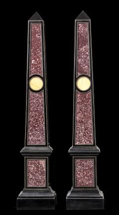 Grand Tour Porphyry on Ebony Wood Pair of Obelisks Italian - 1984521