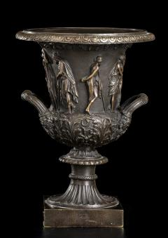 Grand Tour Sculptures Pair Bronze Medici Vases After The Antique - 1951207