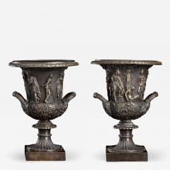 Grand Tour Sculptures Pair Bronze Medici Vases After The Antique - 1953483
