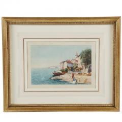 Grand Tour Watercolor of an Italian Coastal Scene - 1083737