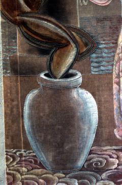 Grant Simon American Art Deco Vertical Painted Velvet Wall Hanging - 514789
