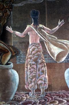 Grant Simon American Art Deco Vertical Painted Velvet Wall Hanging - 514790