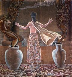 Grant Simon American Art Deco Vertical Painted Velvet Wall Hanging - 518529