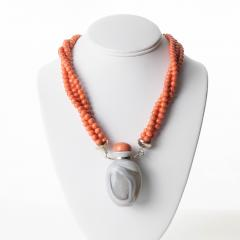 Gray Agate Snuff Bottle Pendant On A Three Strand Coral Bead Necklace - 1710709