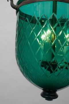 Green Diamond Cut Bell Jar Lantern - 1198647