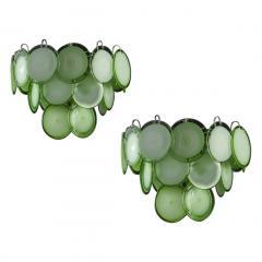 Green Disc Murano Chandelier 1970s - 2042053