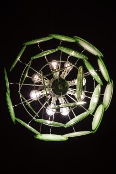 Green Disc Murano Chandelier 1970s - 2042084