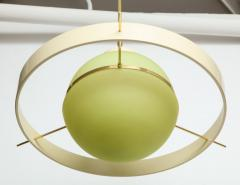 Green Glass Midcentury Satellite Pendant Light Italy 1950s - 1016369