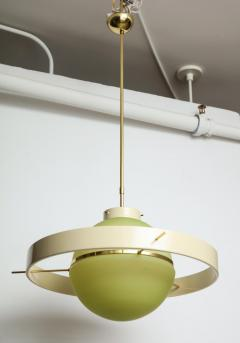 Green Glass Midcentury Satellite Pendant Light Italy 1950s - 1016370