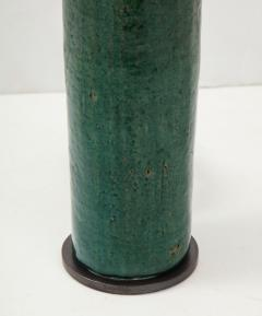 Green Mid Century Danish Ceramic Cylinder Table Lamp - 1868395