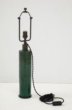 Green Mid Century Danish Ceramic Cylinder Table Lamp - 1868401