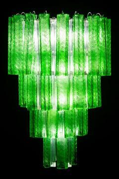Green Midcentury Murano Glass Tronchi Four Tier Chandelier 1960 - 1445696