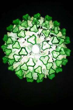 Green Midcentury Murano Glass Tronchi Four Tier Chandelier 1960 - 1445697