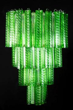 Green Midcentury Murano Glass Tronchi Four Tier Chandelier 1960 - 1445698