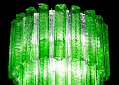 Green Midcentury Murano Glass Tronchi Four Tier Chandelier 1960 - 1445700