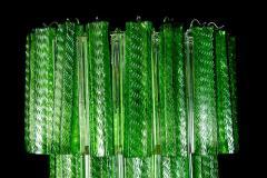 Green Midcentury Murano Glass Tronchi Four Tier Chandelier 1960 - 1445704